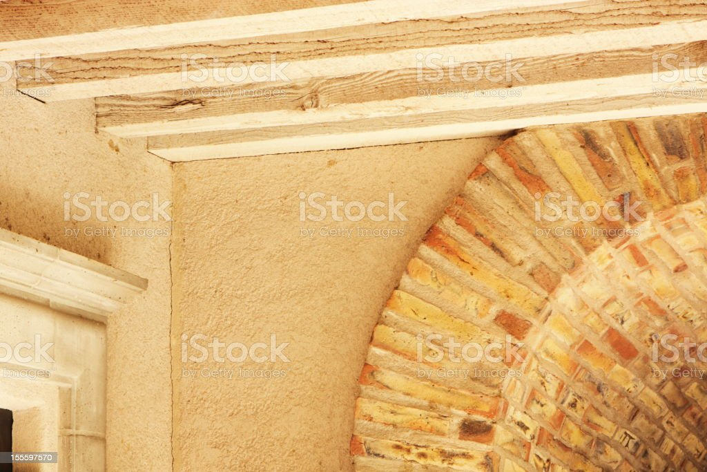 Ceiling Beam Stucco Brick Arch Architecture royalty-free stock photo