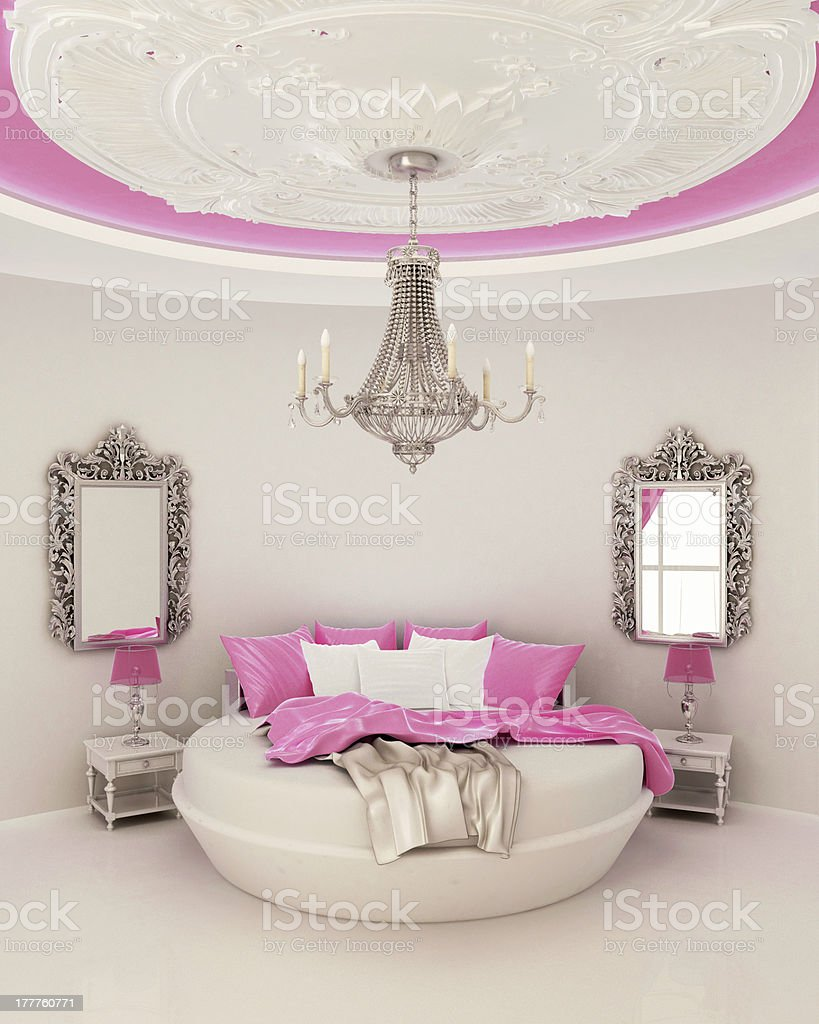 ceiling decor in modern bedroom stock photo