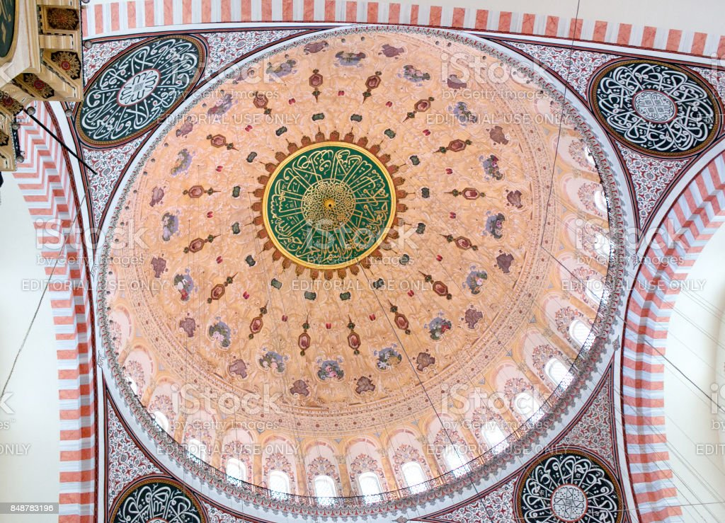 Ceiling decoration close up in Suleymaniye Mosque in Istanbul, Turkey stock photo