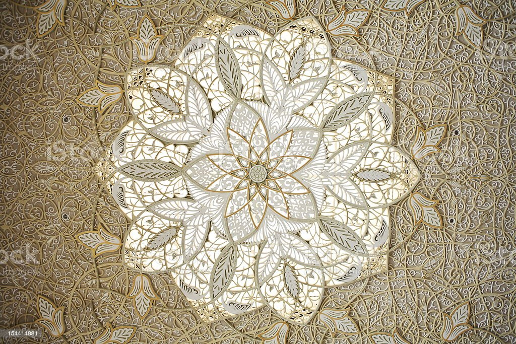 Ceiling Decoration of Sheikh Zayed Mosque royalty-free stock photo
