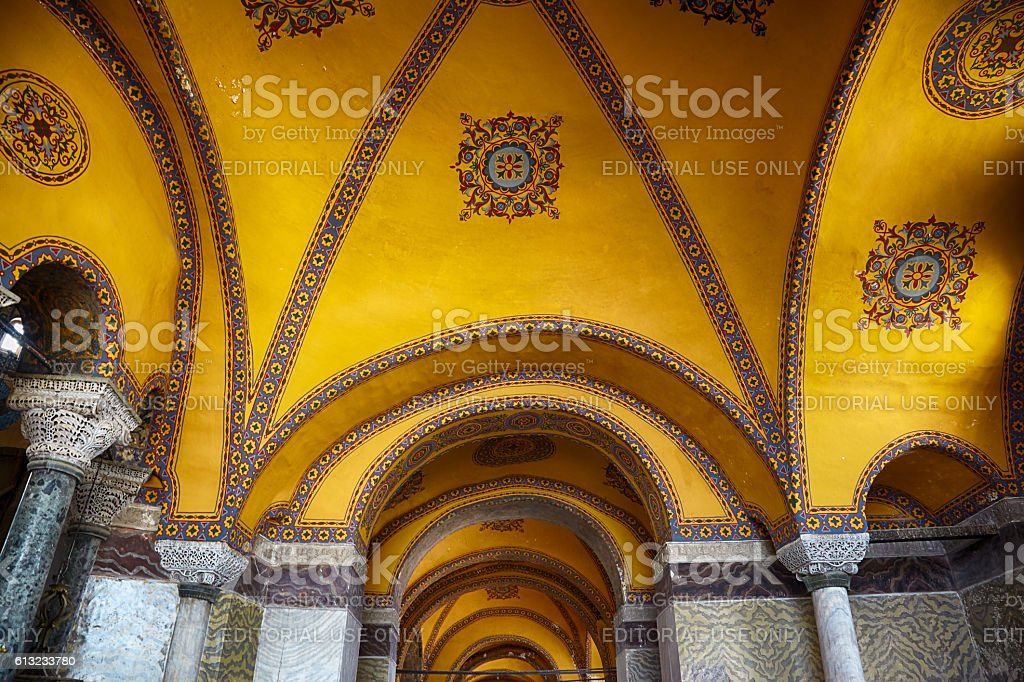 Ceiling decoration with original Christian cross in stock photo