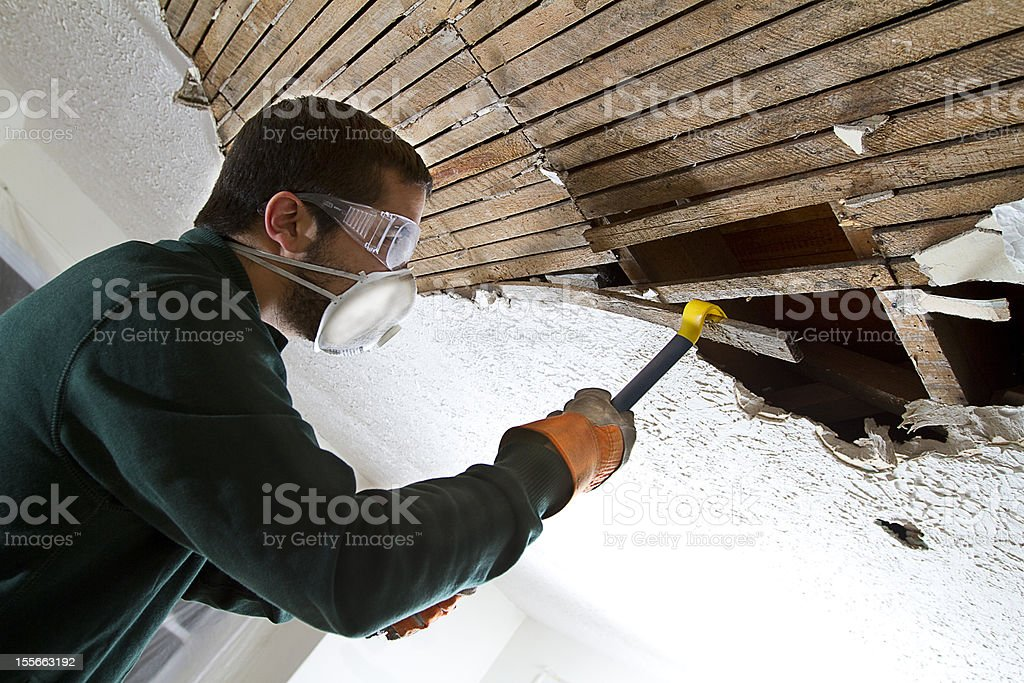 Ceiling Demolition stock photo