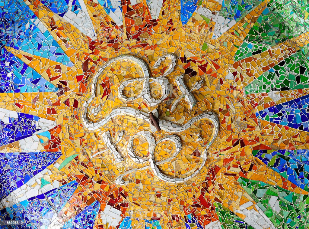 Ceiling detail in the lower court of Park Güell royalty-free stock photo