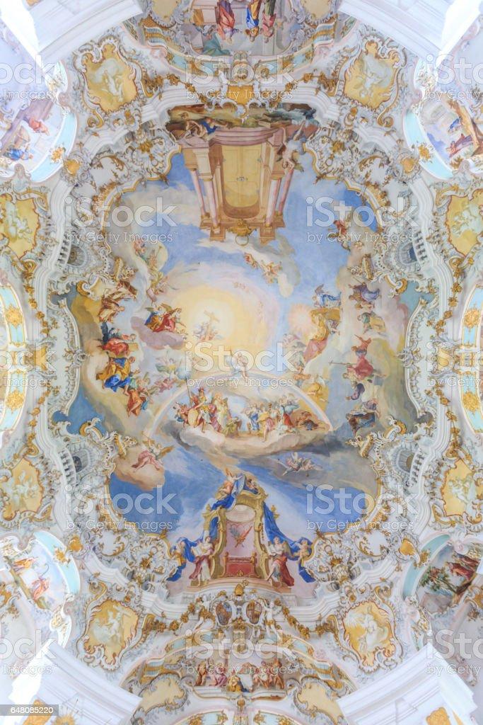 ceiling frescoes of wieskirche church in bavaria, Germany, Europe stock photo
