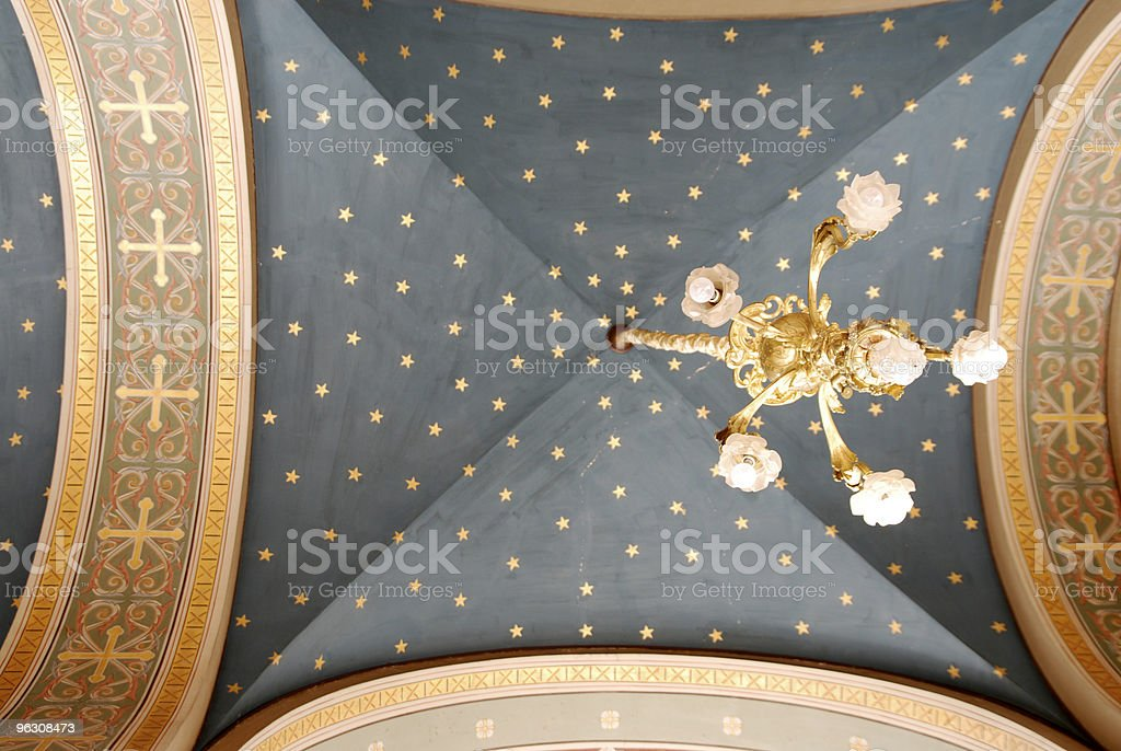 ceiling from greek orthodox church with candelabra royalty-free stock photo