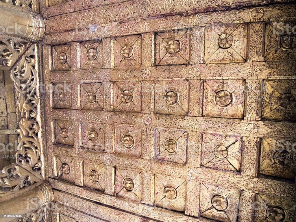 Ceiling, Golden Monastery, Mandalay, Myanmar stock photo
