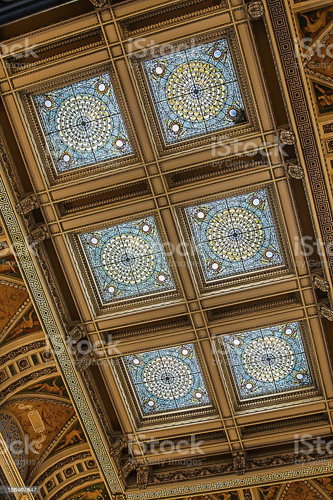 Ceiling in Library of Congress royalty-free stock photo