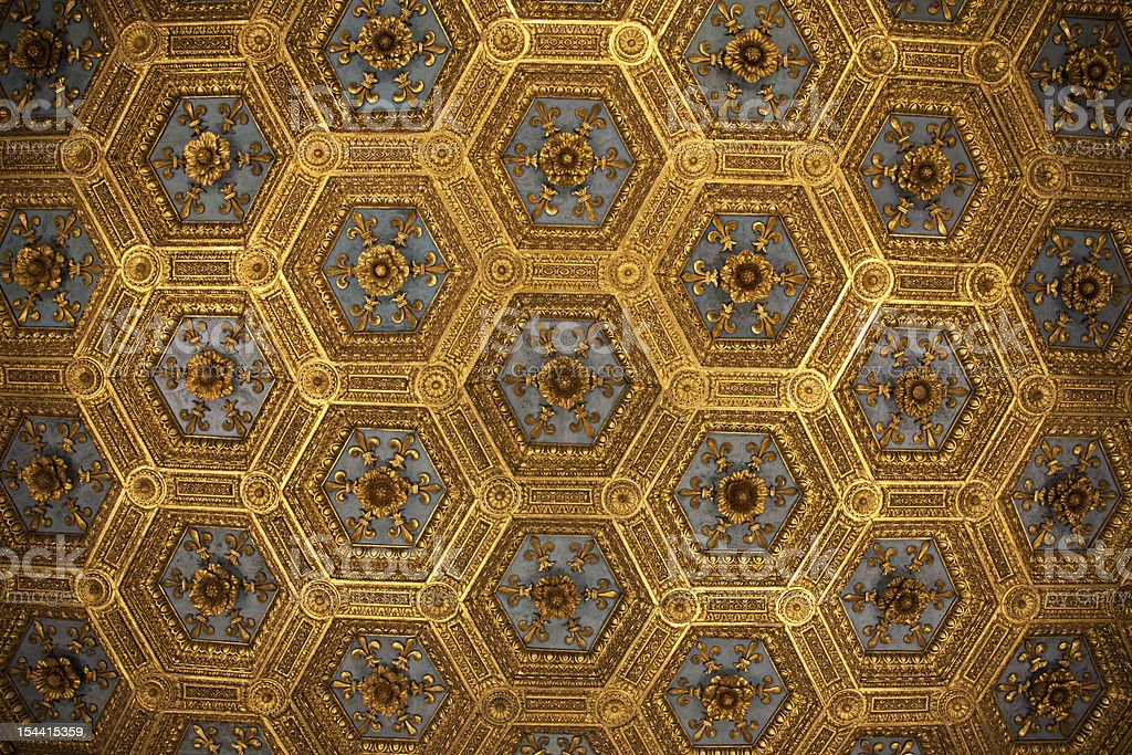Ceiling in Palazzo Vecchio (Florence) stock photo