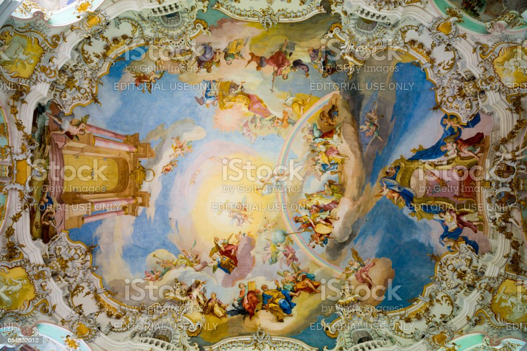 Ceiling in Pilgrimage Church of Wies. Interior view. Bavaria, Germany. stock photo
