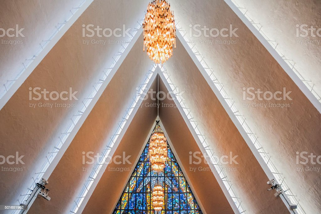Ceiling inside Arctic Cathedral stock photo