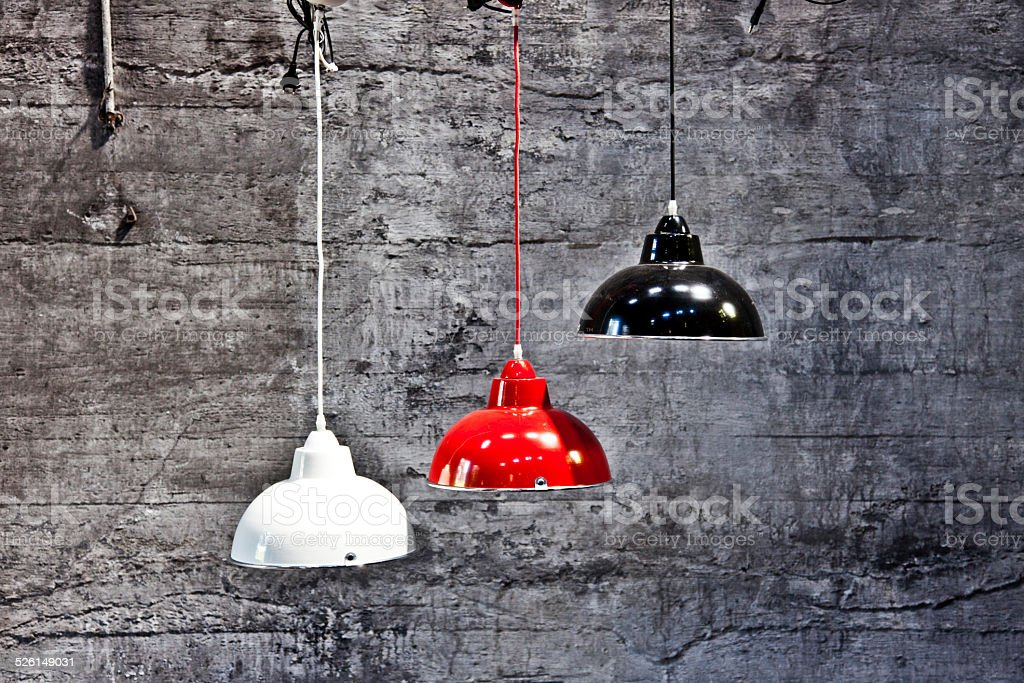 Ceiling Lamp Hanging In A Industrial Area stock photo