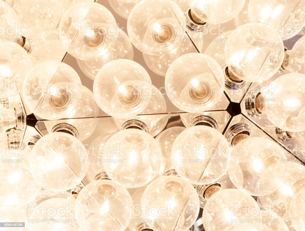 ceiling lamp with many lightbulbs stock photo