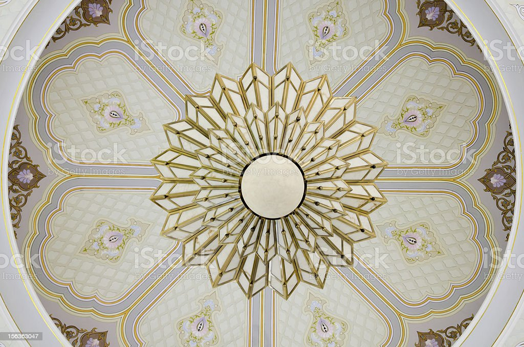Ceiling Light with graphic art in Malaysia stock photo