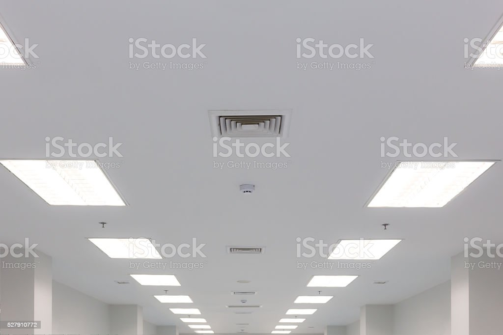 ceiling lighting and exhaust louver stock photo