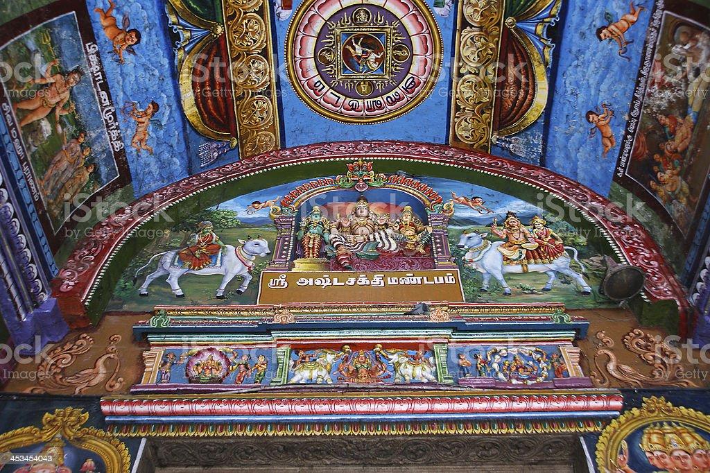 Ceiling Meenakshi Sundareswarar Temple in Madurai, South India stock photo