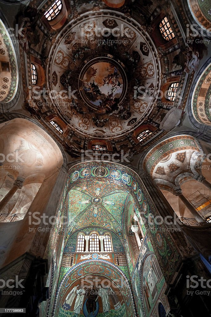Ceiling Mosaic in Basilica San Vitale, Ravenna stock photo
