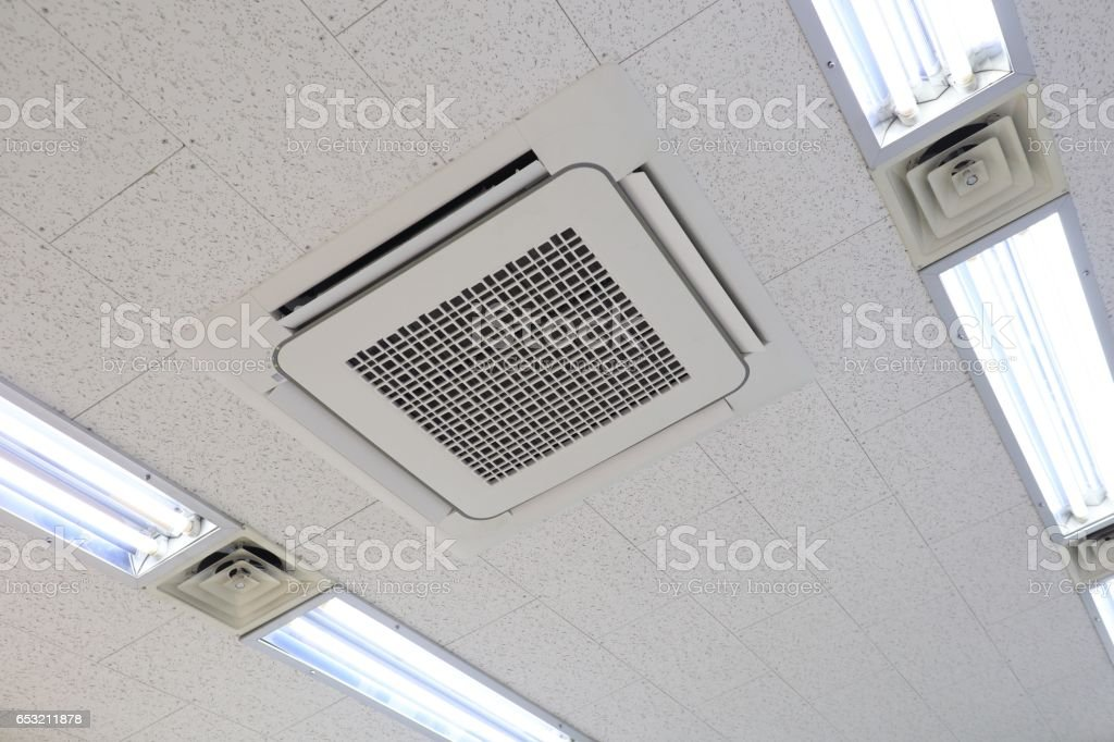Ceiling mounted air conditioning system stock photo