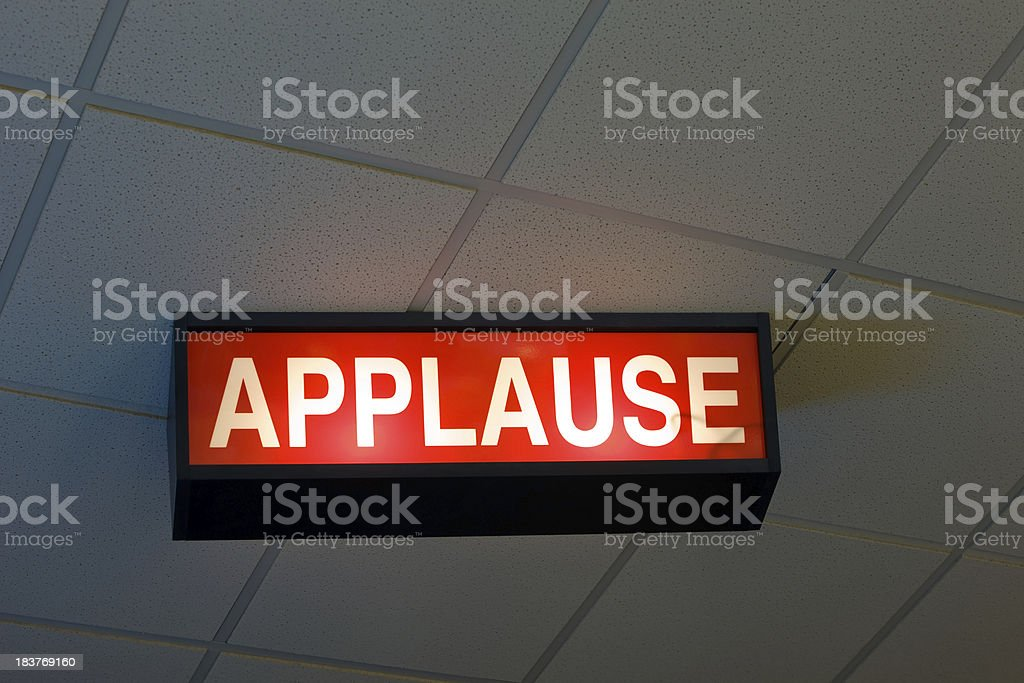 Ceiling Mounted Illuminated Applause Sign royalty-free stock photo