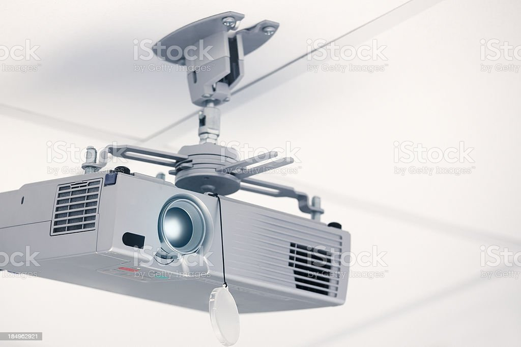 Ceiling mounted projector stock photo