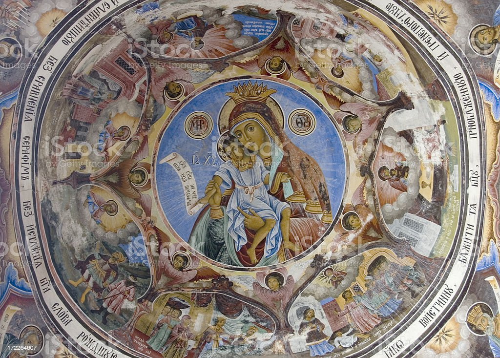 Ceiling of a bulgarian monastery royalty-free stock photo
