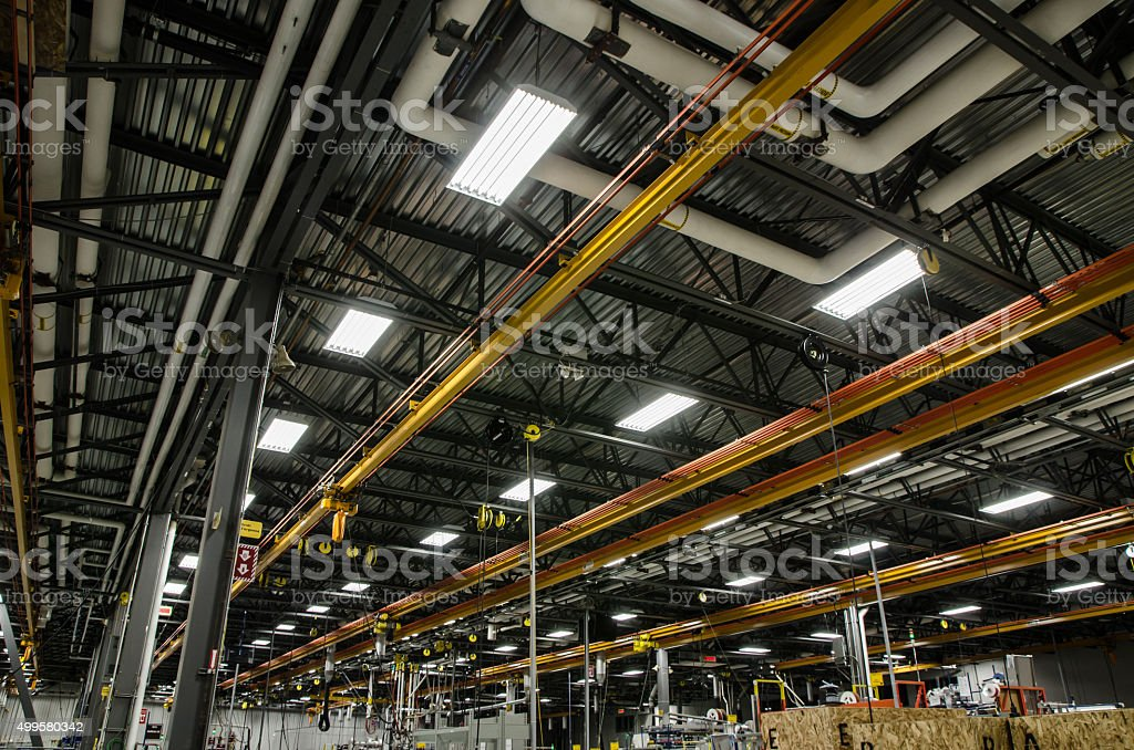Ceiling of a manufacturing plant stock photo