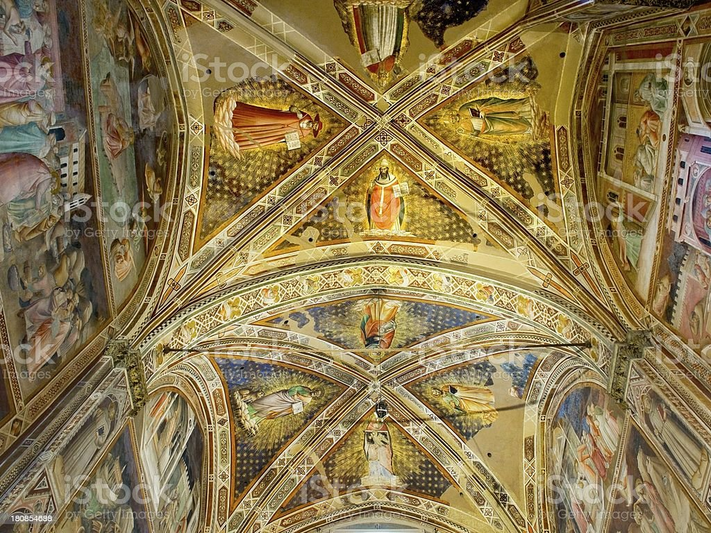 Ceiling of Castellani Chapel in Basilica di Santa royalty-free stock photo