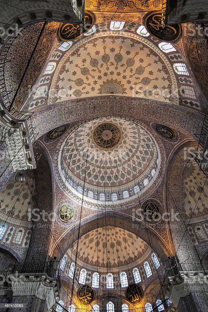 Ceiling of eminonu yeni cami in Istanbul, Turkey stock photo