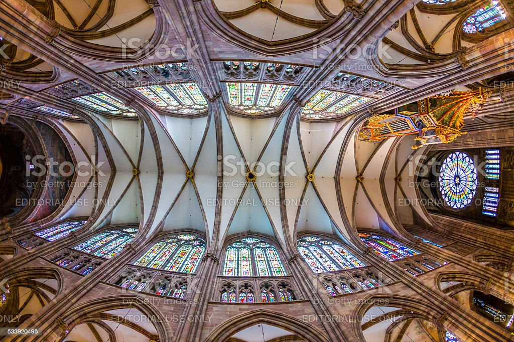 ceiling of famous Strassbourg Cathedral stock photo