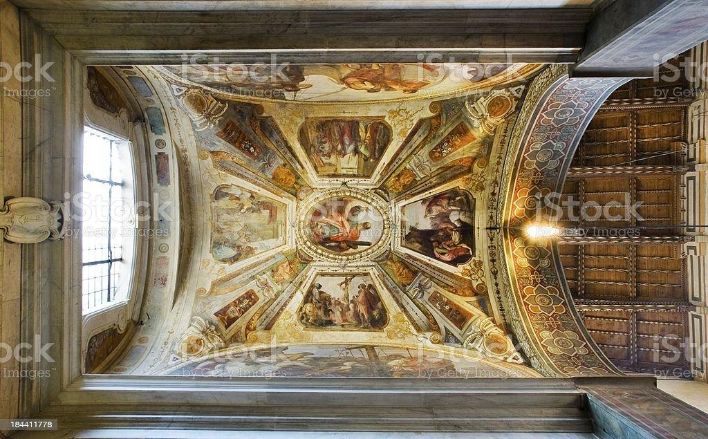 Ceiling of Giugni chapel in Basilica di Santa Croce stock photo
