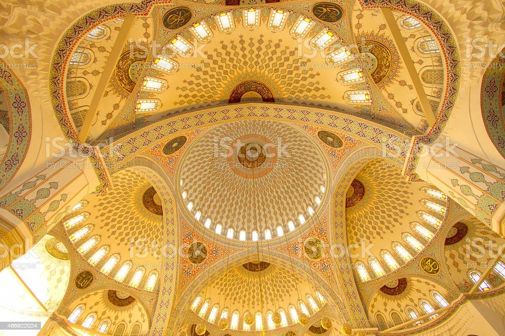 Ceiling of Kocatepe Mosque stock photo
