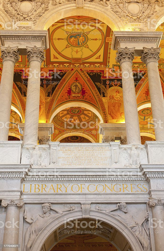 Ceiling of Library Congress in Washington DC royalty-free stock photo