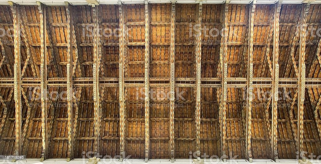 Ceiling of main nave in Basilica di Santa Croce. Florence royalty-free stock photo
