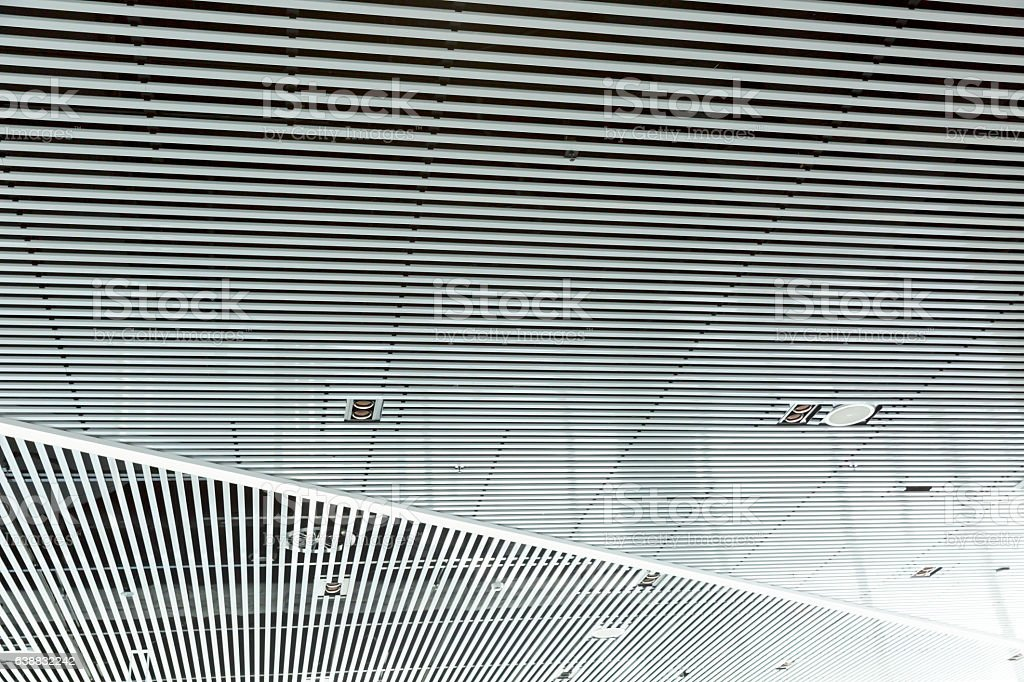 Ceiling of modern building with reflection, background with copy space stock photo