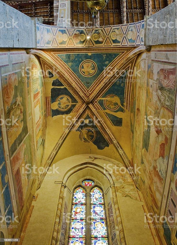 Ceiling of Peruzzi Chapel in Basilica di Santa Croce stock photo