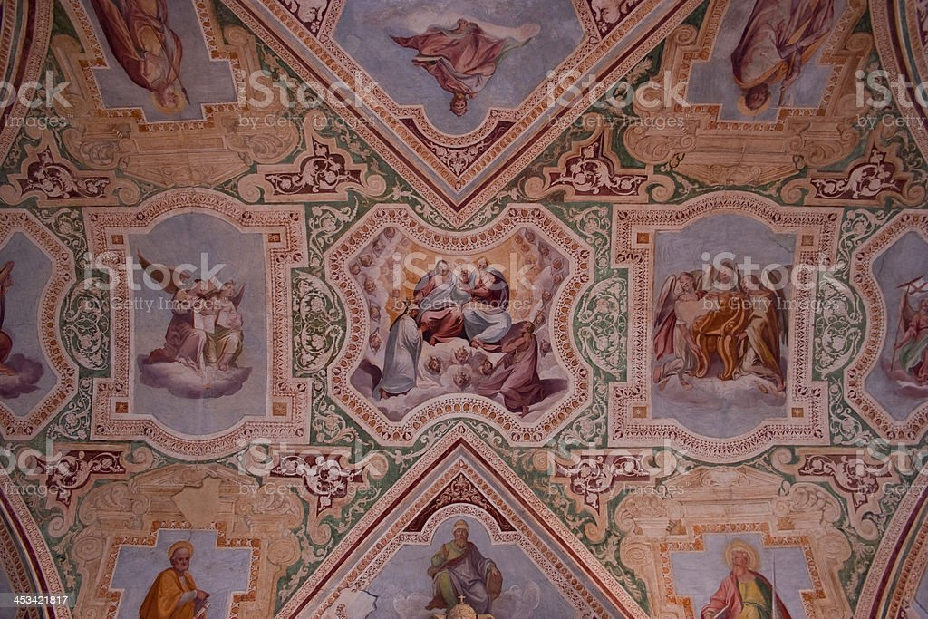 ceiling of San Giovanni in Laterno stock photo
