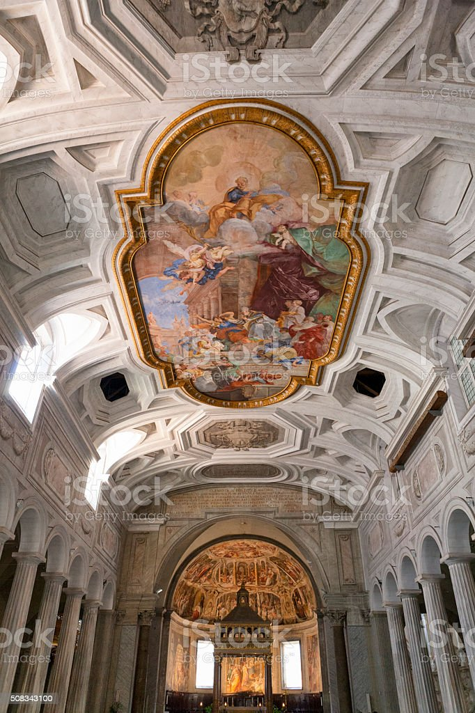 Ceiling of San Pietro in Vincoli in Rome, Italy stock photo