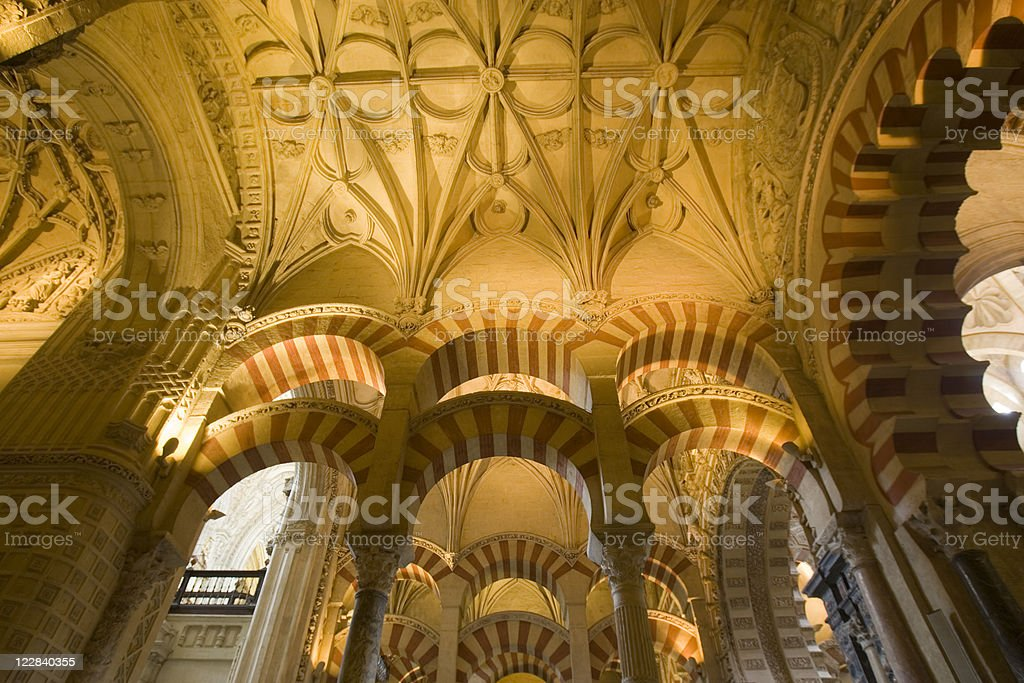 Ceiling of the Cordoba Mosque/Cathedral stock photo