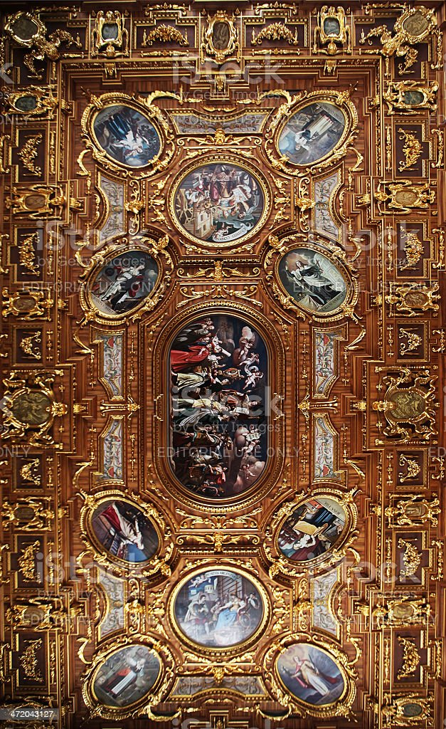 Ceiling of the Golden Room, Town Hall, Augsburg stock photo