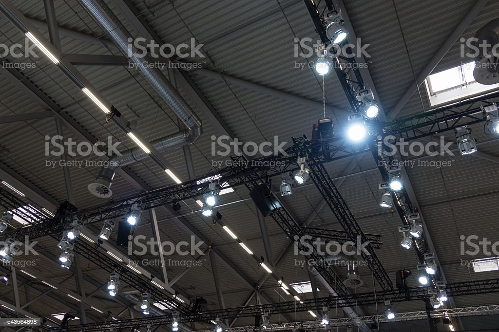 Ceiling of the room with a metal construction and ventilation stock photo