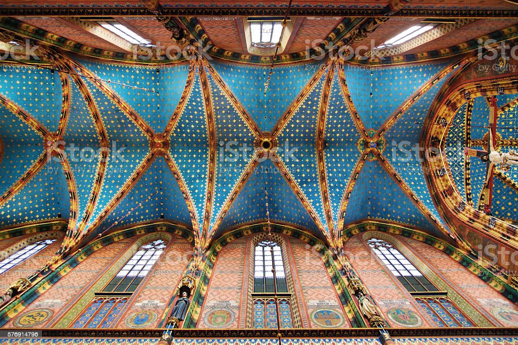 Ceiling of the St Mary Basilica in Krakow stock photo