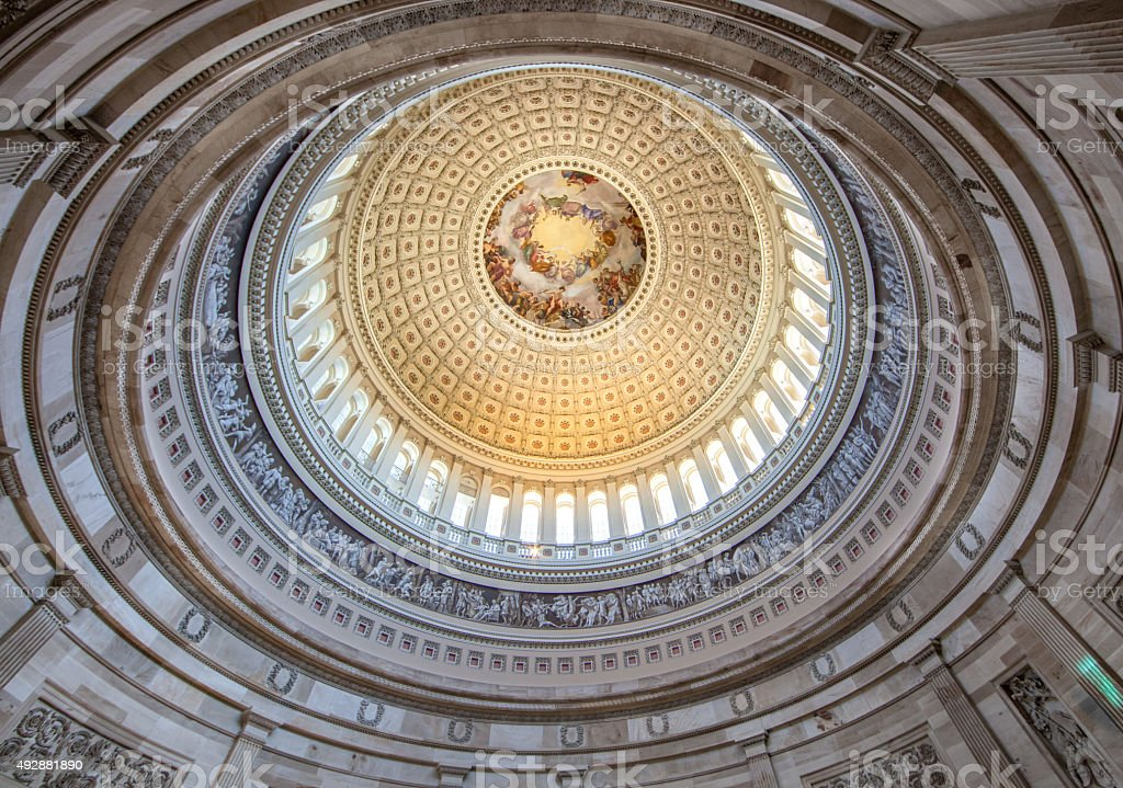 Ceiling of the U.S. Capitol Rotunda stock photo