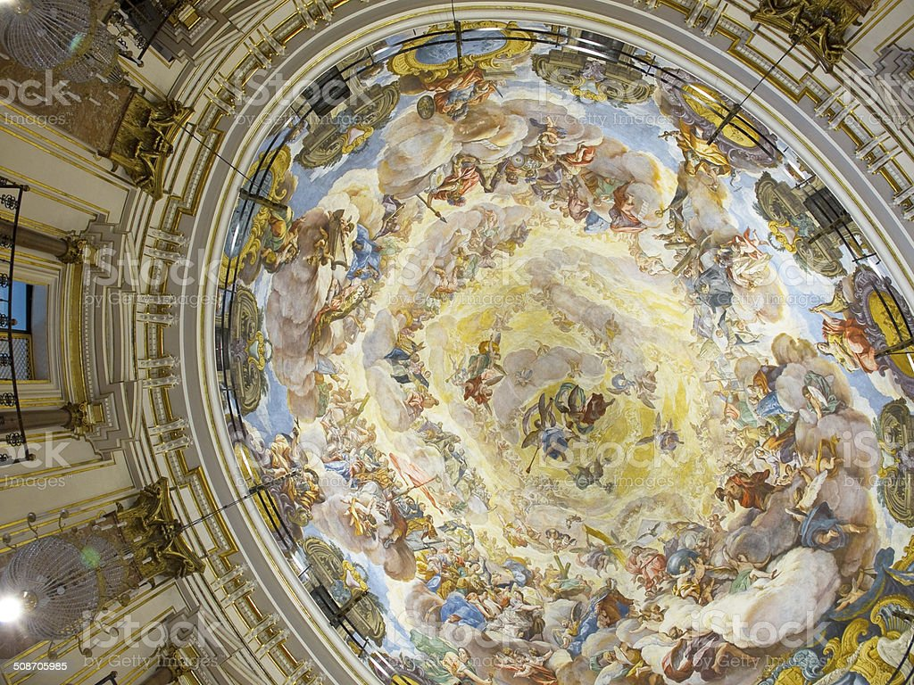Ceiling of Valencia Cathedral. Spain stock photo