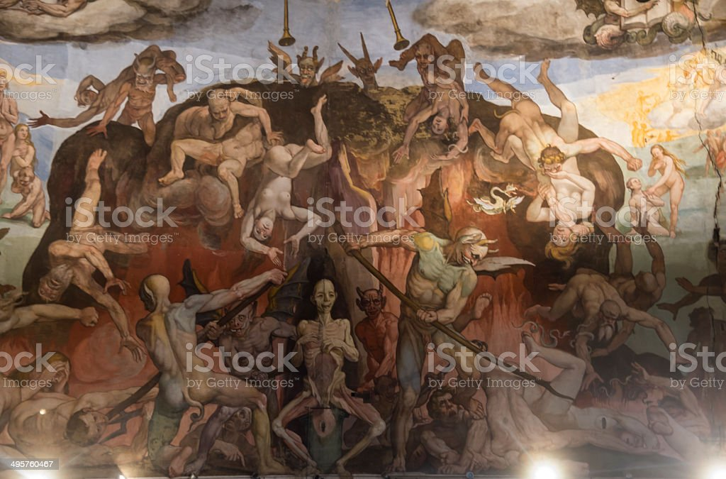 Ceiling painting Giotto's bell tower. Florence stock photo
