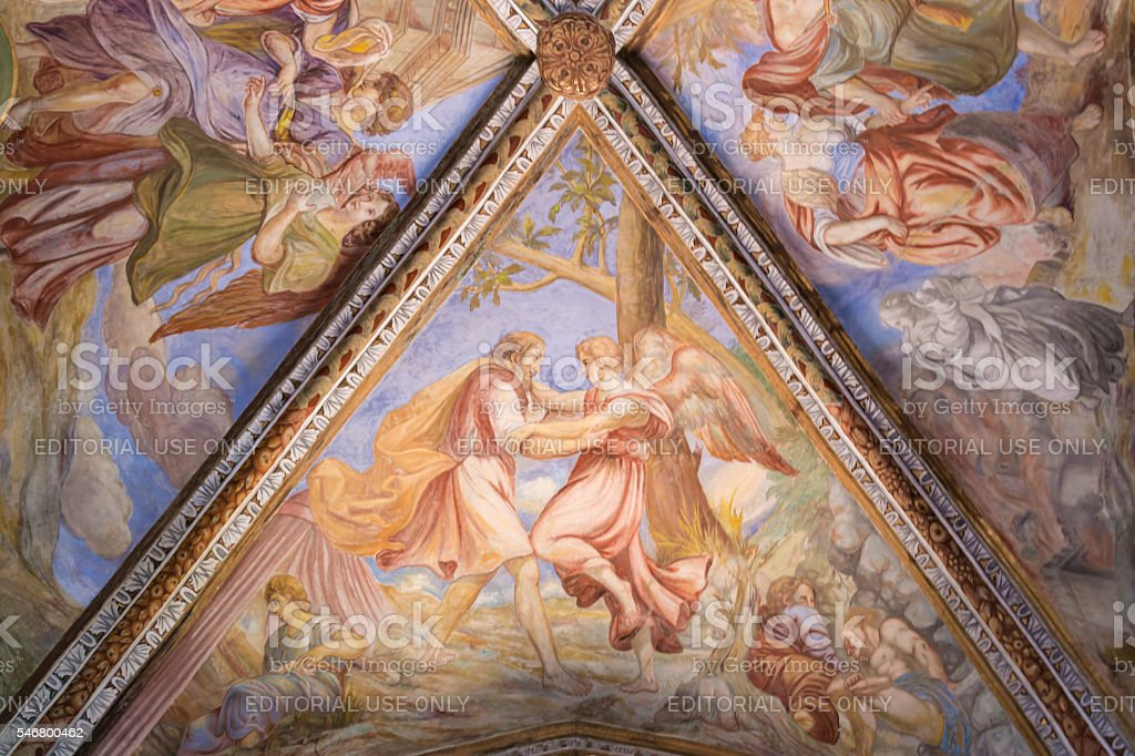 Ceiling painting in cathedral at  Lipari near Sicily, Italy stock photo