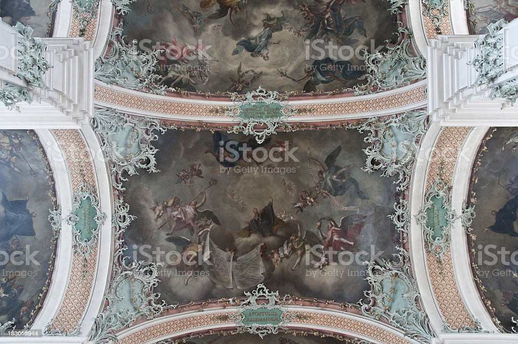 ceiling painting in the Abbey of Saint Gallen, Switzerland royalty-free stock photo