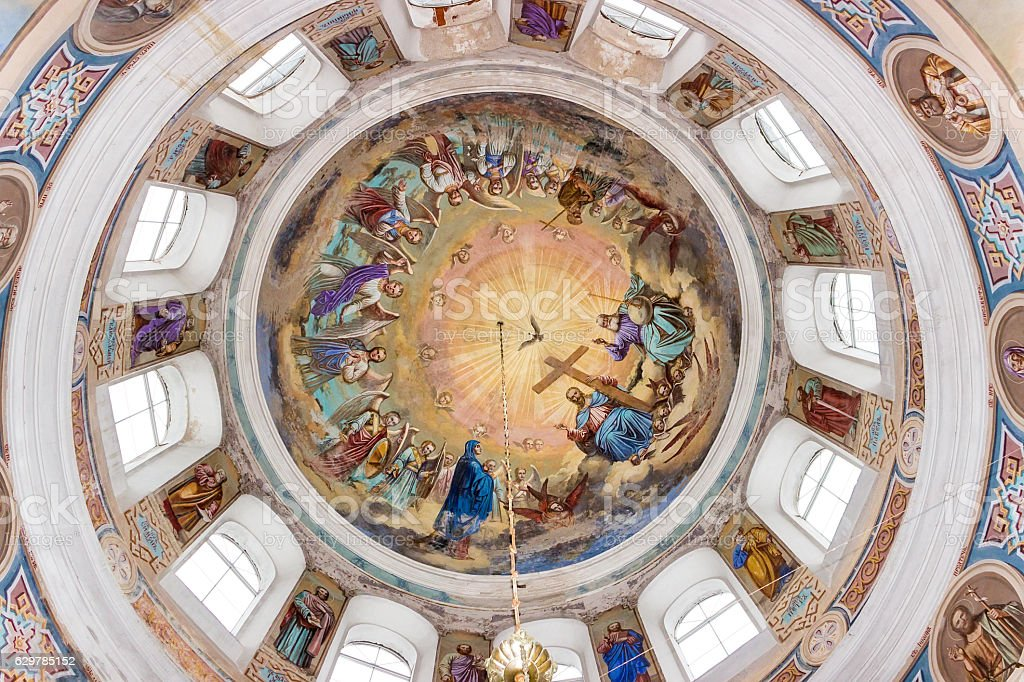 Ceiling painting in the Orthodox Church stock photo