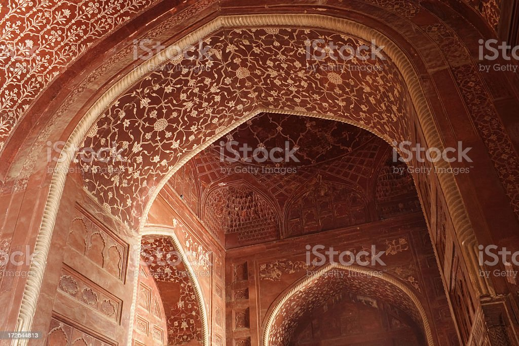 Ceiling patterns in Taj mahal complex royalty-free stock photo