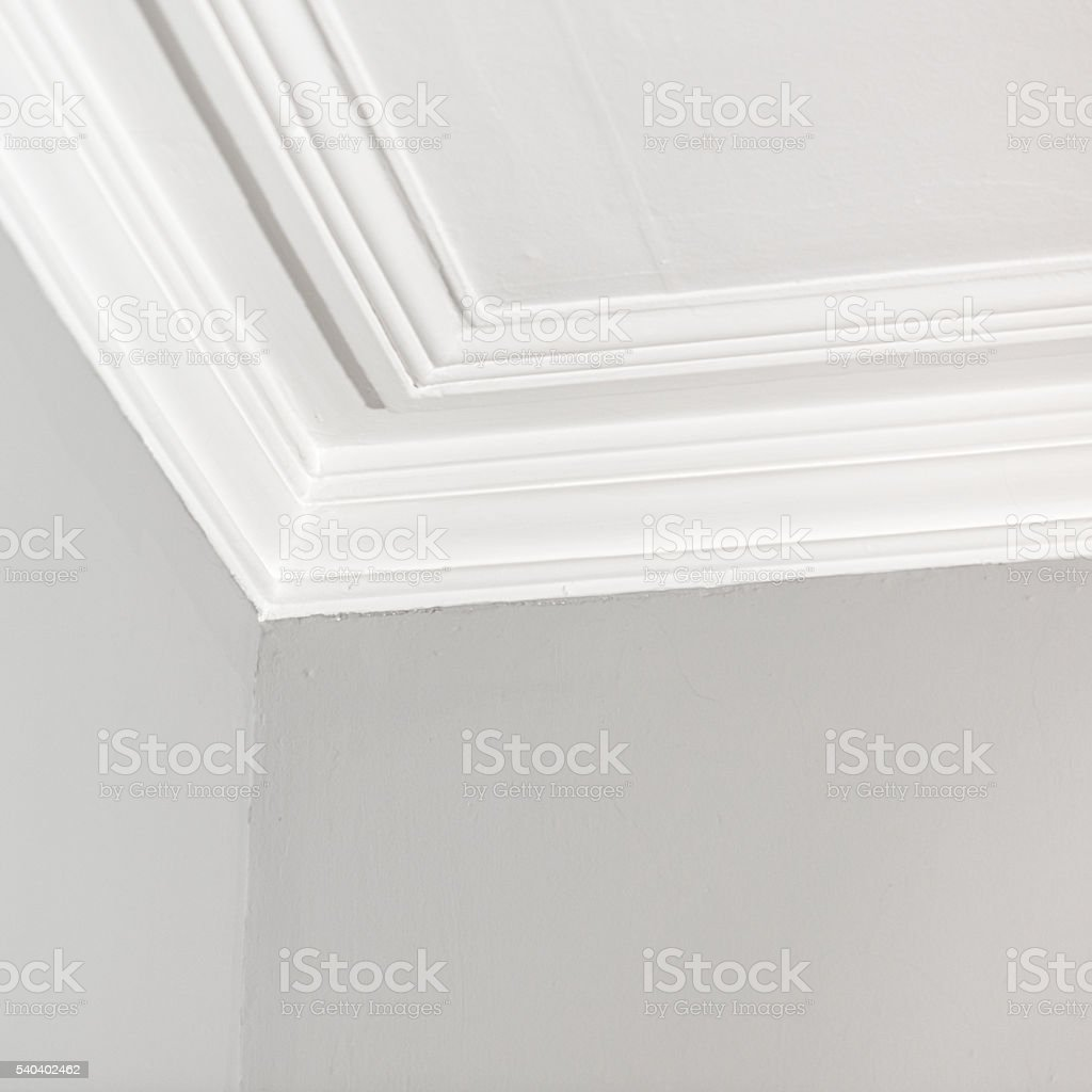 Ceiling plaster moulding stock photo