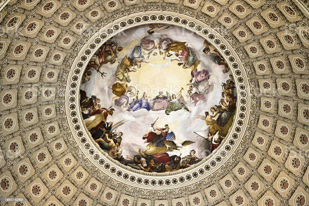 Ceiling rotunda of the Capital Building dome in Washington DC stock photo