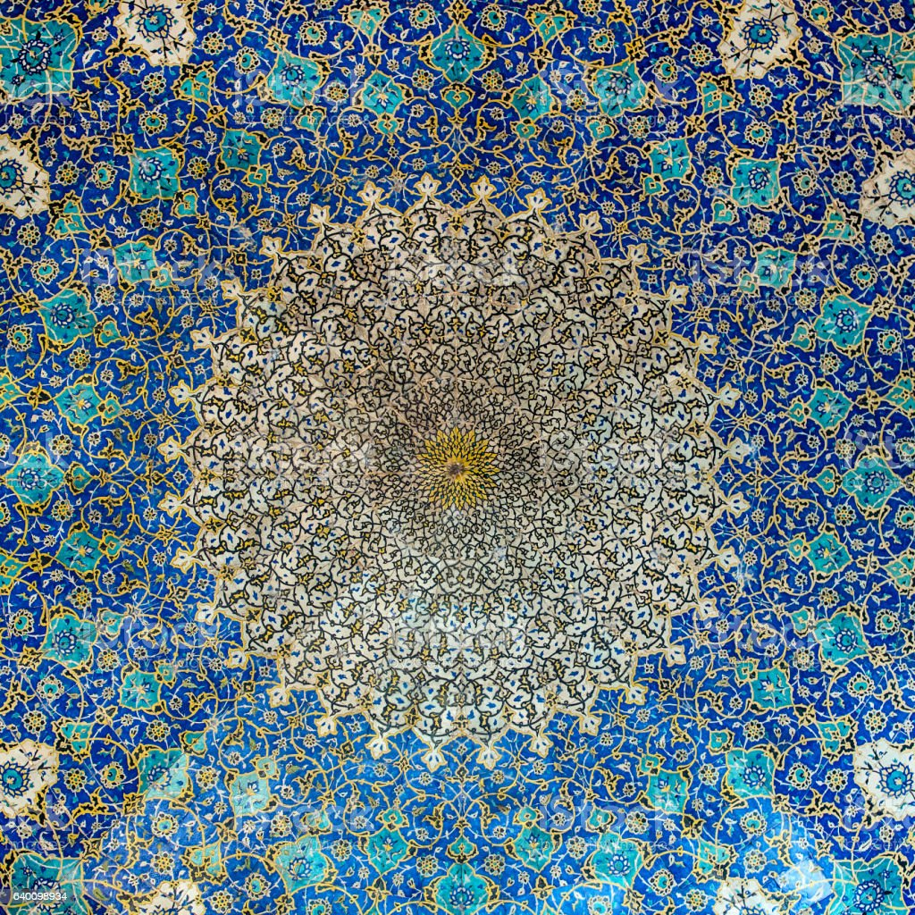 Ceiling tilework at Shah Mosque on Imam Square, Isfahan, Iran stock photo